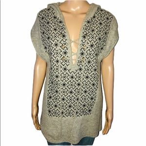 Free People sleeveless criss cross hooded sweater